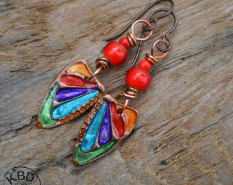 Painted Rainbow Copper Butterfly Wings with Ice Resin and Lampwork Earrings