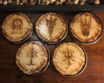 Free Shipping Sale! Lord of The Rings Coaster Set of 5,Handmade Wood Burned Laser Etched, LOTR