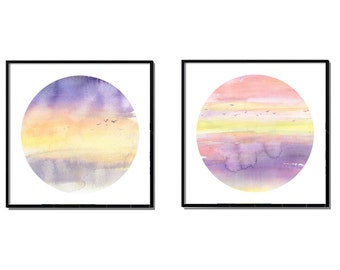 Sunset Painting Print, Abstract Painting, Set of 2 Prints, Watercolor Prints, Landscape Painting, Wall Art