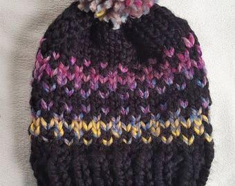 Black Knit Fair Isle Hat, Chunky Pom Pom Hat, Rainbow Knit Hat - Fair Isle Hat Black Astroland
