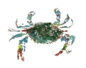 Blue Crab - Gyotaku Fish Rubbing - Limited Edition Print (16 x 13)