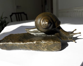 Fine Art solid bronze wildlife animal snail sculpture statue. Limited edition