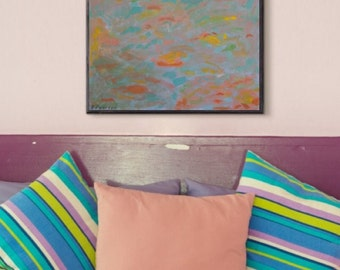 Colourful abstract painting, 20x20 canvas, blue/green/yellow/orange/pink