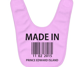Made In PEI - Fleece Baby Bib - Can Customize Color And Date - Prince Edward Island