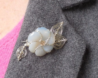 Agate Flower Citrine Center Wire Leaves