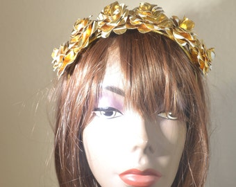 Paper Flower Headband Crown - Upcycled Paper Flowers Headpiece - Gold White Flowers