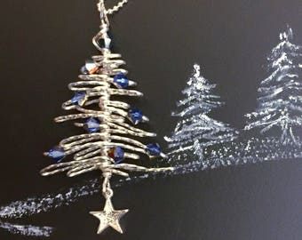 Mini Christmas Tree Necklace, Silver Tree Necklace, Gift for Her, Christmas Gift, Solstice Gift, Silver Necklace, Holiday Jewelry