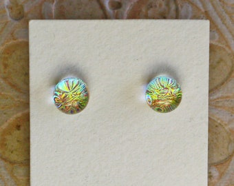 Dichroic Glass Earrings , Golden Green/Red  DGE-1395