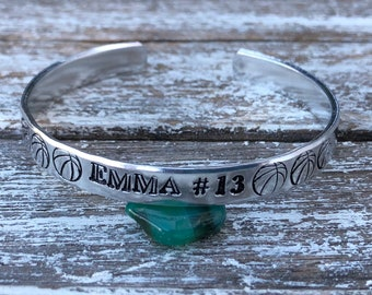 Sports cuff with players name and number~ girls sports cuff~ hand stamped cuff