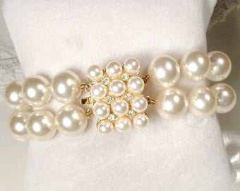 Vintage Multi Strand Pearl Rhinestone Gold Bracelet, Ornate Clasp Ivory Glass Pearl Bridal Bracelet, Vintage Wedding 1950 - 60s Modern Bride