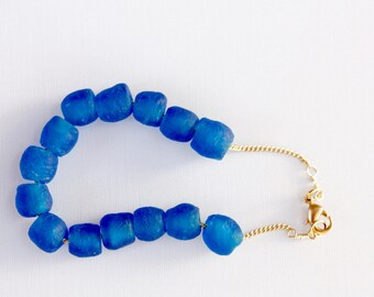 Blue Glass Nugget Bracelet, Nautical Bracelet, Sea Glass Nuggets, Made to Order to Size