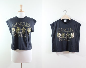 Vintage Black & Metallic Gold Cancun Cropped T-Shirt