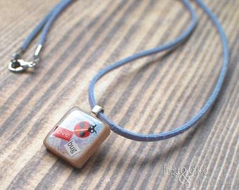 Ladybug Scrabble Necklace, Handmade Scrabble Tile Pendant, Insect Wood Pendant, Bug Jewelry, Spring love bug, Gardener Gift, Tiny Jewelry