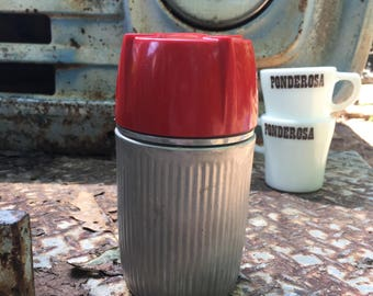 Vintage Universal Thermos Ribbed Aluminum Red Plastic Cup Glass Interior 1940's Landers Frary and Clark 9810 Made in USA