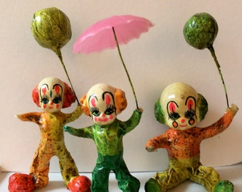 Vintage Paper Mache Figurines - 3 Clowns - Orange, Yellow & Green Clowns with Props;  Pink Umbrella and 2 Balloons - Collectible/Mid Century
