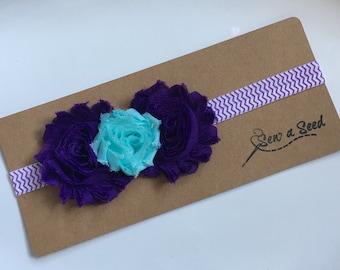 Baby Headband, Flower Headband, Purple Headband, Purple and Aqua Headband, Chevron Headband