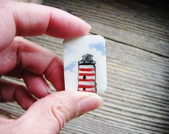 Tiny Red Lighthouse Magnet, Mini Art Magnet, Fridge Magnet, Hand Painted Magnet, Kitchen Decor, Fridge Art, Refrigerator Magnet