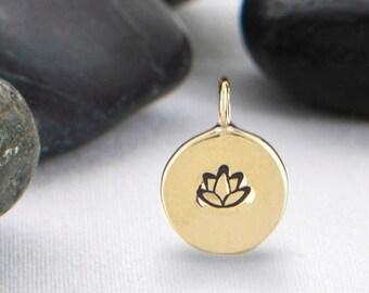 Lotus Flower Charm, Lotus Flower, Yoga Charm, Yoga Jewelry, Lotus Pendant, Lotus Flower Pendant, Yoga Pendant, JIP246BR