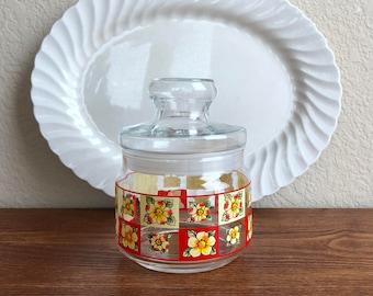 vintage floral lidded glass jar