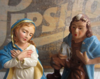 Vintage Nativity Creche Mary Piper Sheperd Cow Figures