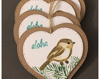 Handmade Watercolored Gift Tags Hawaiian Bird Aloha Brown Kraft Heart Valentines Day Easter All Occasion Party Favor set of 4