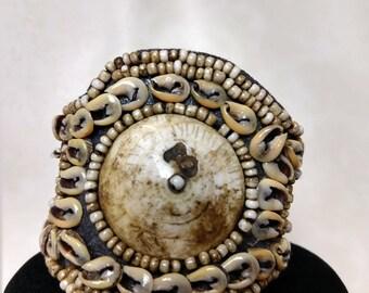 African bracelet shells tribal beaded ladies Jewelry gift handmade brown