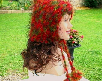 Fairy hood, pixie hat, red olive green orange gold black, ear flap hat, knit hat, mohair blend hat, winter hat, toque, womens hat, chemo cap