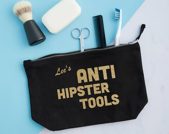 Personalised Wash Bag 'Anti Hipster Tools' - mens gifts - fathers day gift - funny dad gift - boyfriend gift - husband gift - grandad gift