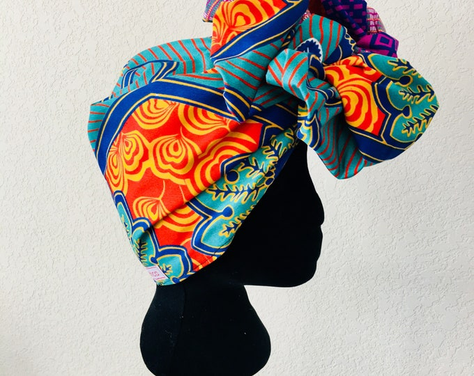 Featured listing image: Head Wrap - African - Reversible - Kop Wrap - Lente Paradys (Spring Paradise)