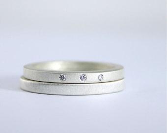 Three Diamond Wedding Ring Set - Matte Finish Sterling Silver - Eco Friendly - Modern - Diamond Engagement Rings - Wedding Rings