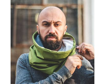 Adjustable Neck Warmer, Winter Men Cowl, Hooded Cowl, Mens Neck Warmer, Snowboard Cowl, Ski Scarf, Green Cowl, Water-resistant Neck Warmer