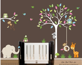 Children wall decals - white tree wall decal owl vinyl decal tree wall