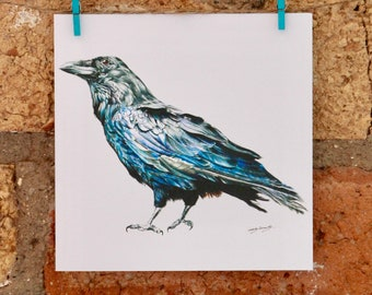 Illustrated Crow Card