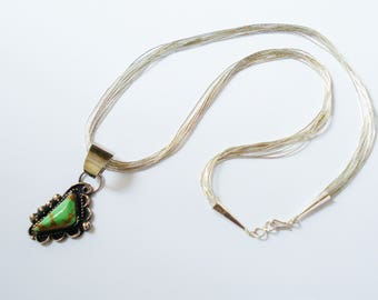 Navajo Lime Green Variscite Necklace, Sterling Liquid Silver. 10 Strand 925 Signed Gary Nez Pendant. Native American South West.