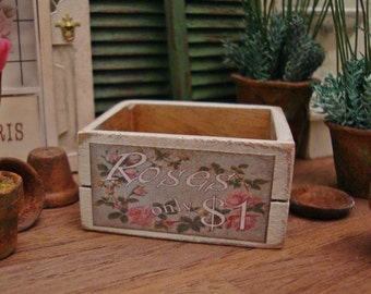 Roses for Sale Crate 1:12 Scale Miniature Dollhouse Accessory