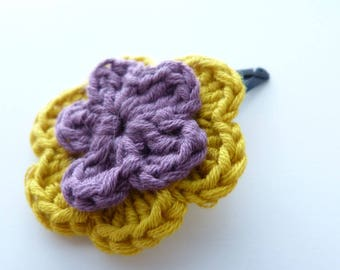 1 Barrette Click Clack flowers purple and lime green