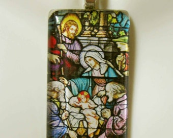 The Nativity stained glass window pendant with chain - GP01-21
