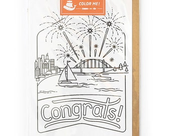 Adult Coloring, Congratulations Greeting Card, Congrats Grad, Modern Card for Him or For Her - Congrats Coloring Card