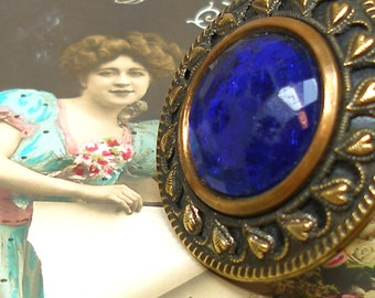 1890s BUTTON ring, Victorian cobalt glass & metal on adjustable sterling band. One of a kind jewellery.