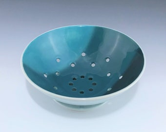 Ceramic Berry Bowl, Teal Berry Bowl, Porcelain Berry Bowl, Pottery Colander with Saucer, Fruit Vegetable Strainer, Teal Ceramic Fruit Bowl