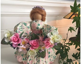Handmade Spring Doll. Unique Spring Decor. Floral Figurine. Rose Decor. Spring Flowers. Floral Dress. Handmade Gifts. Unique Gifts for Women