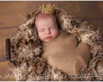 Newborn Baby Mini Gold Lace Crown, Newborn Photography Prop, Baby Crown, Gold Crown, Lace Crown, Baby Boy, Baby Girl