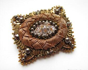 Brass and Copper Oval Brooch Beaded Brooch Bead Embroidery Brooch Pin Brass Brooch Swarovski