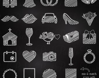 Chalkboard Wedding Icons Clipart Clip Art, Chalkboard Wedding Invitation Icons Clipart Clip Art Vectors - Commercial and Personal Use