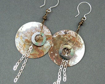 Dramatic rusty washer earrings by Mary Heuer