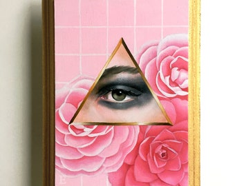 Lover's Eye & Camelia Oil Painting on wood plaque Lowbrow Pop Art