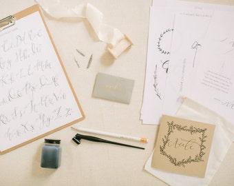 Online Beginner's Modern Calligraphy Class Course + Full Starter Supply Kit