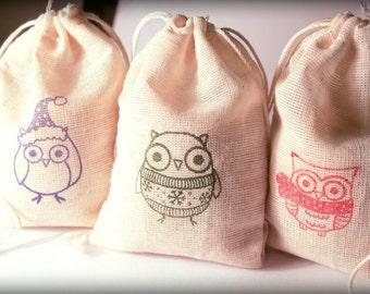 Owl Holiday Winter Set muslin cotton favor bag 15 2.75x4 with stamp gift sack Christmas goodies treat bag