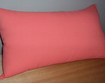Solid Coral Cotton Decorative Lumbar Pillow Cover - Available In Several Sizes