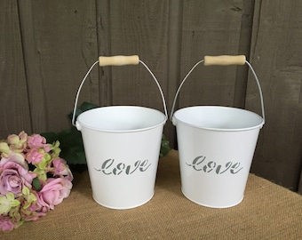 White wedding pails/ love buckets/ white buckets with love on the front/ love scribed white pails for flower girl/ flower girl buckets